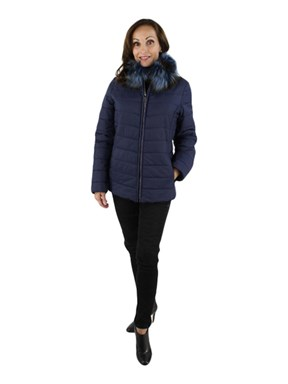Woman's Navy Shearling, Fabric and Fox Jacket
