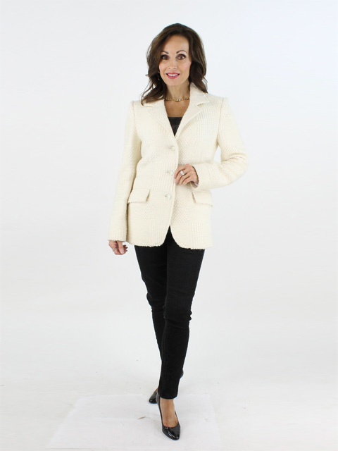 Bianco Beige Italian Wool Blazer with Removable Grey Fox Collar