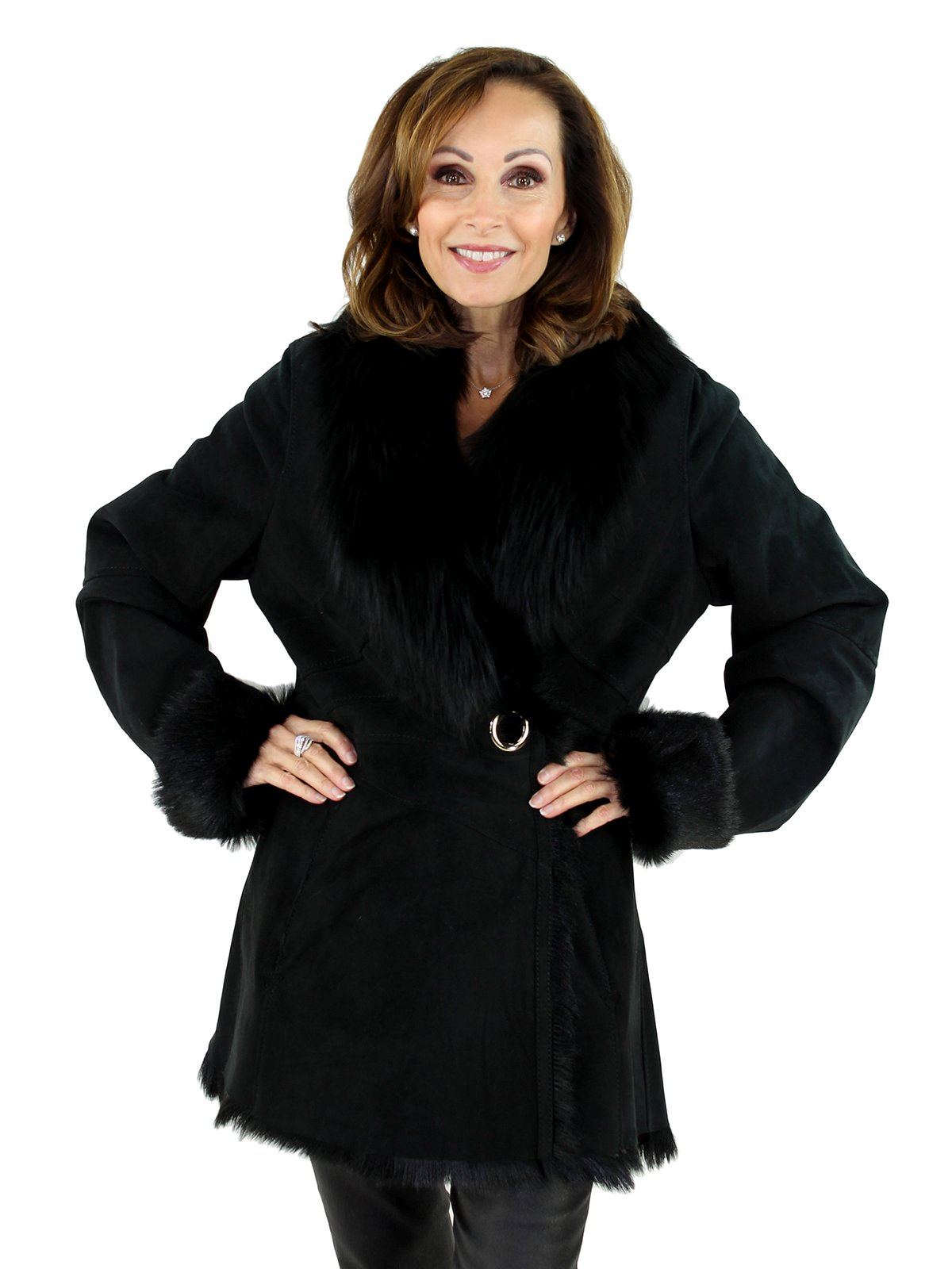 Woman's Black Goat Shearling Jacket with Black Fox Fur Collar