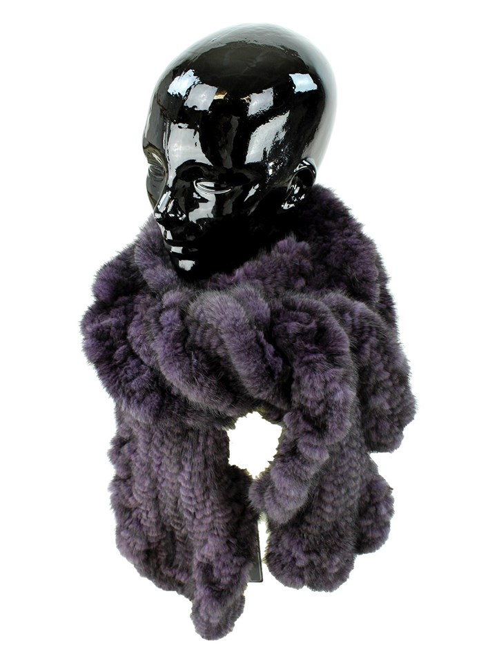 Woman's Aubergine Rex Rabbit Fur Pull Through Scarf
