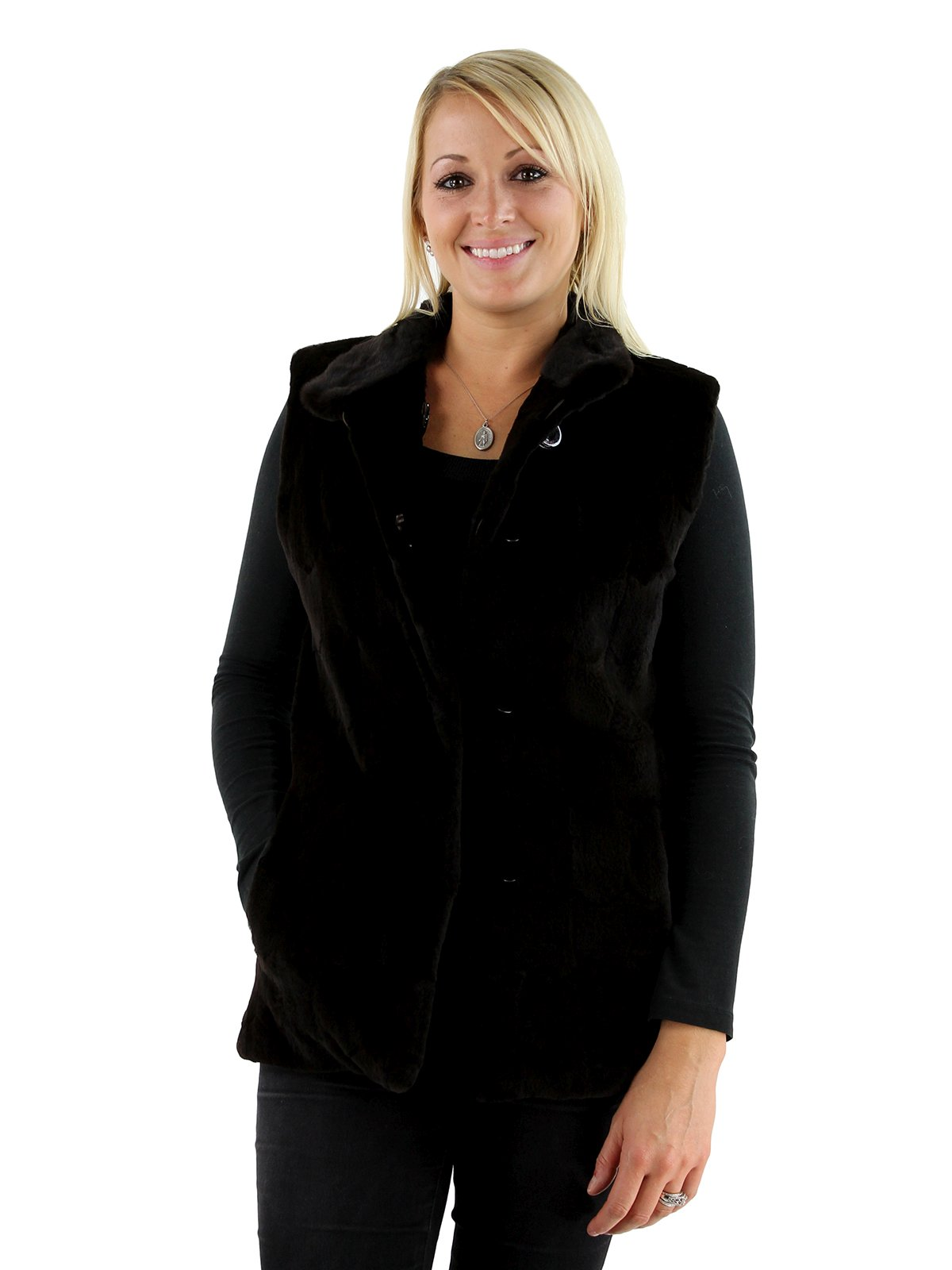 Woman's Brown Sheared Mink Fur Vest