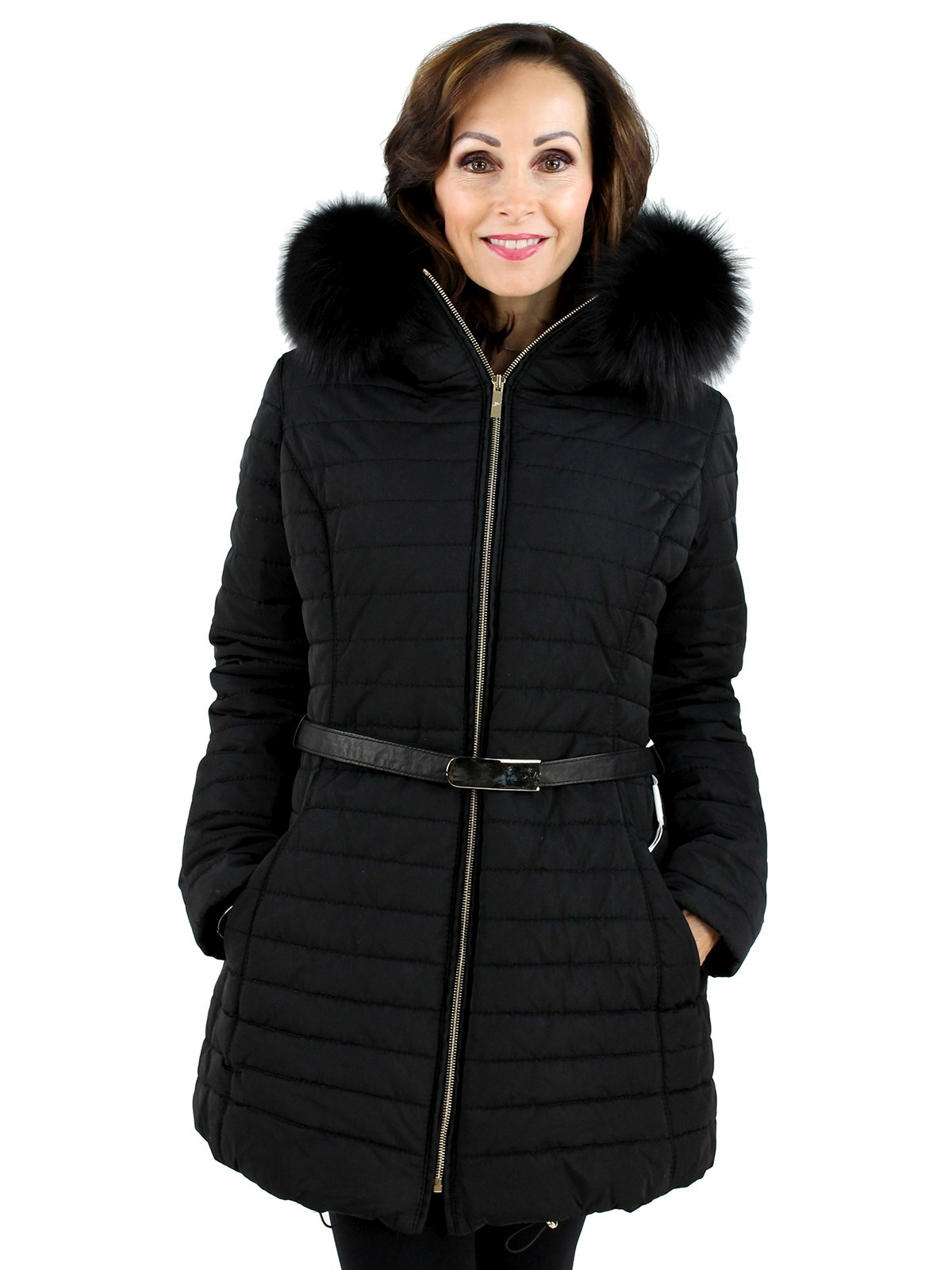 Gorski Woman's  Nero Fabric And Fox Apres-Ski Jacket