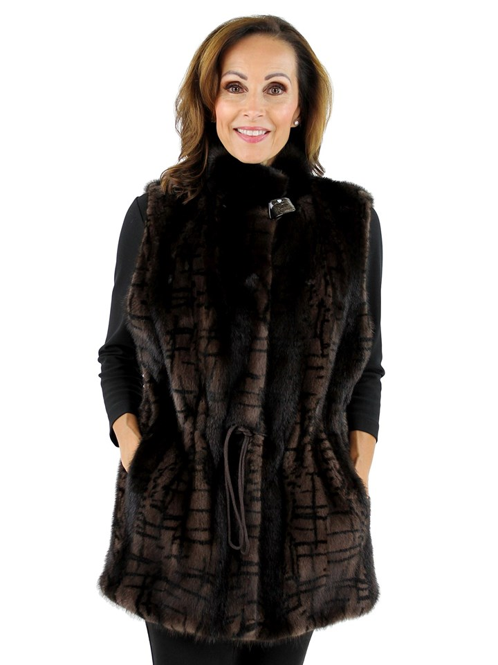 Gorski Woman's Brown Mink Fur Vest Reversible to Black Taffeta