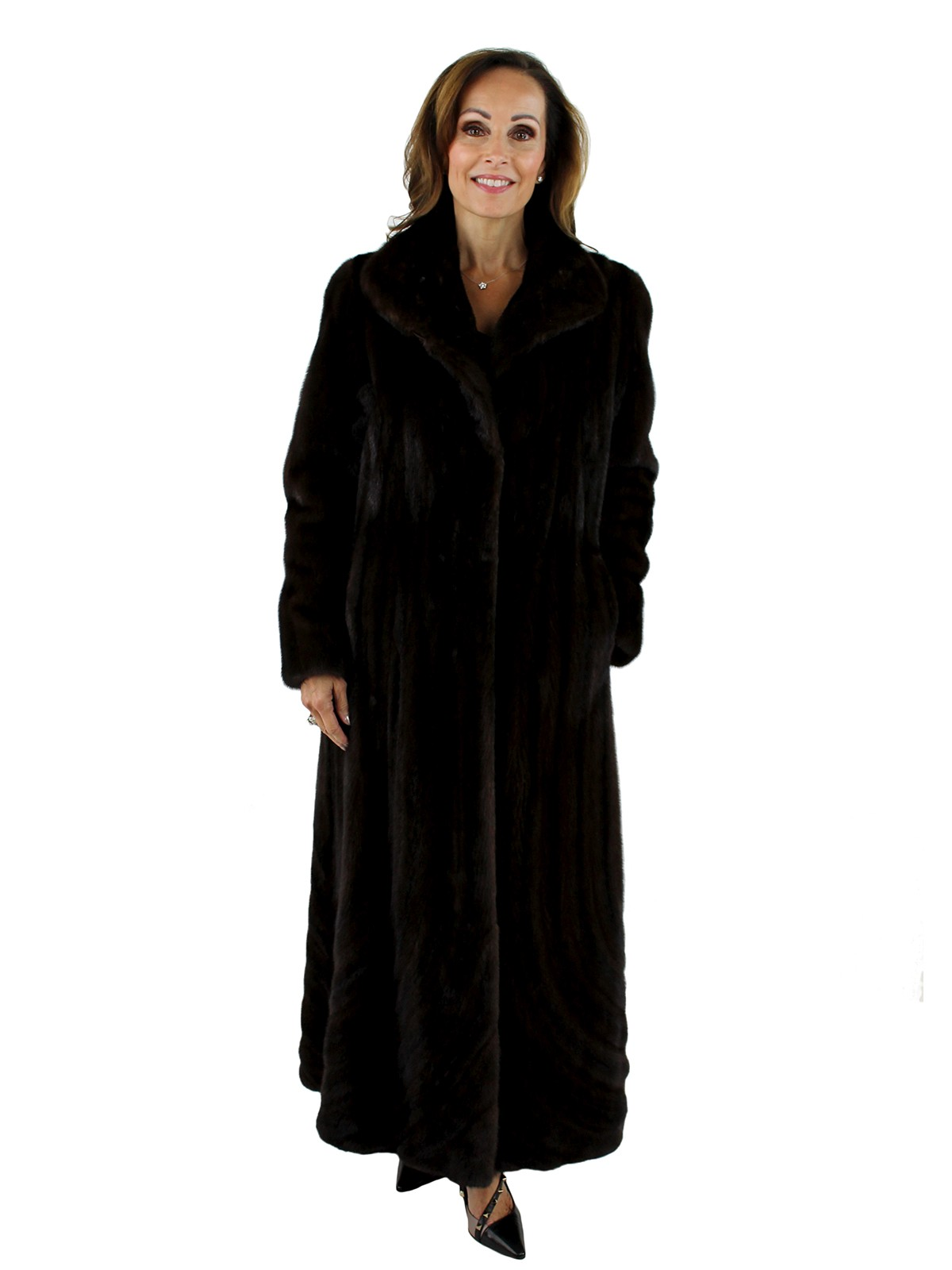 Gorski Woman's  Mahogany Directional Let Out Mink Fur Coat