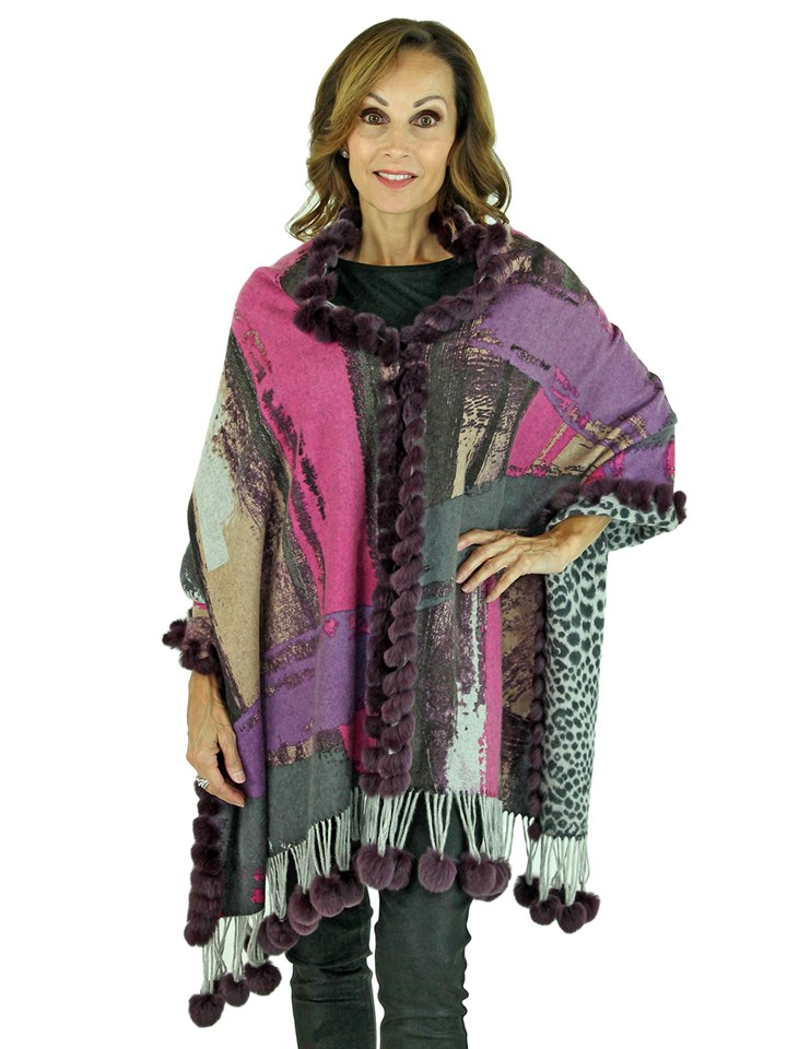 Woman's Multicolor Cashmere Wool Stole with Purple Rex Rabbit Trim