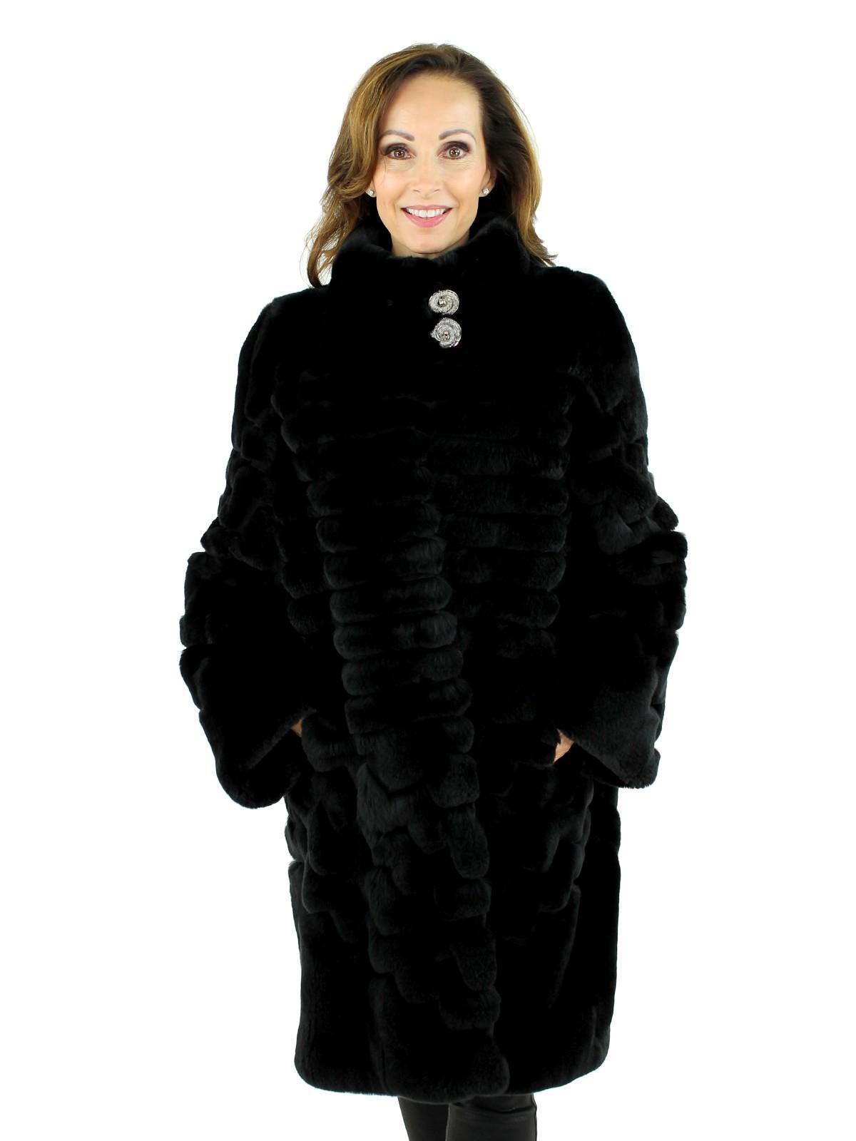 Gorski Woman's  Black Rex Rabbit Fur Stroller