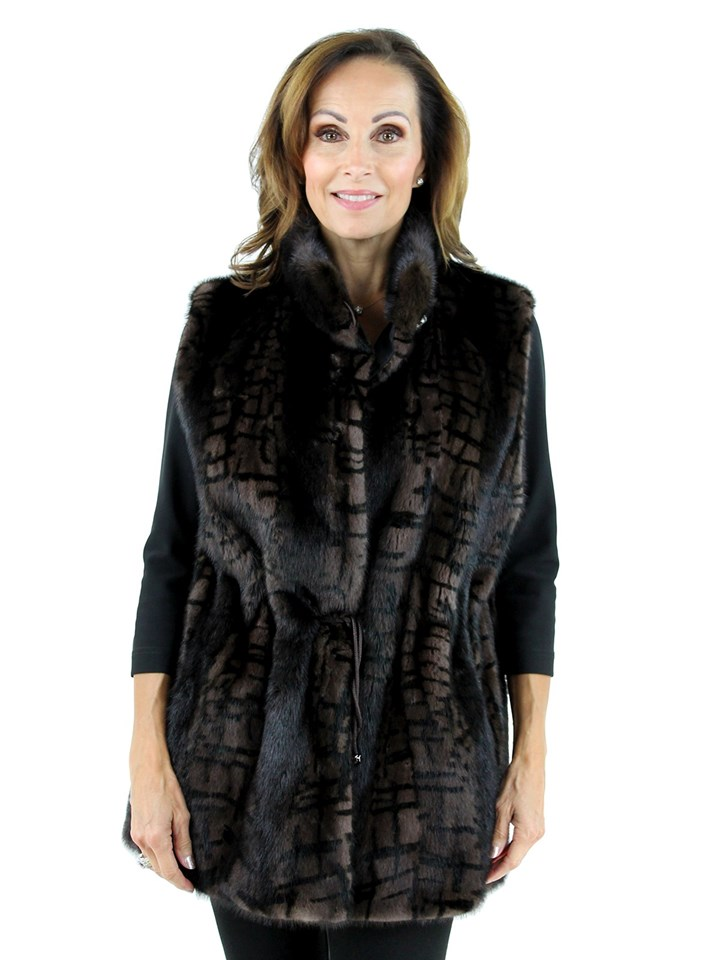 Gorski Woman's Black and  Brown Abstract Print Mink Fur Vest