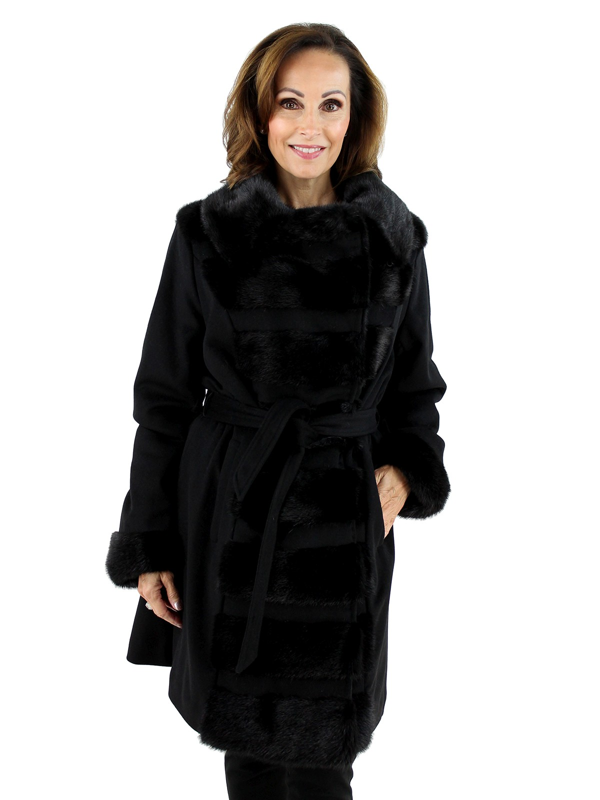 Gorski Woman's Black Mink Fur and Cashmere Wool Stroller