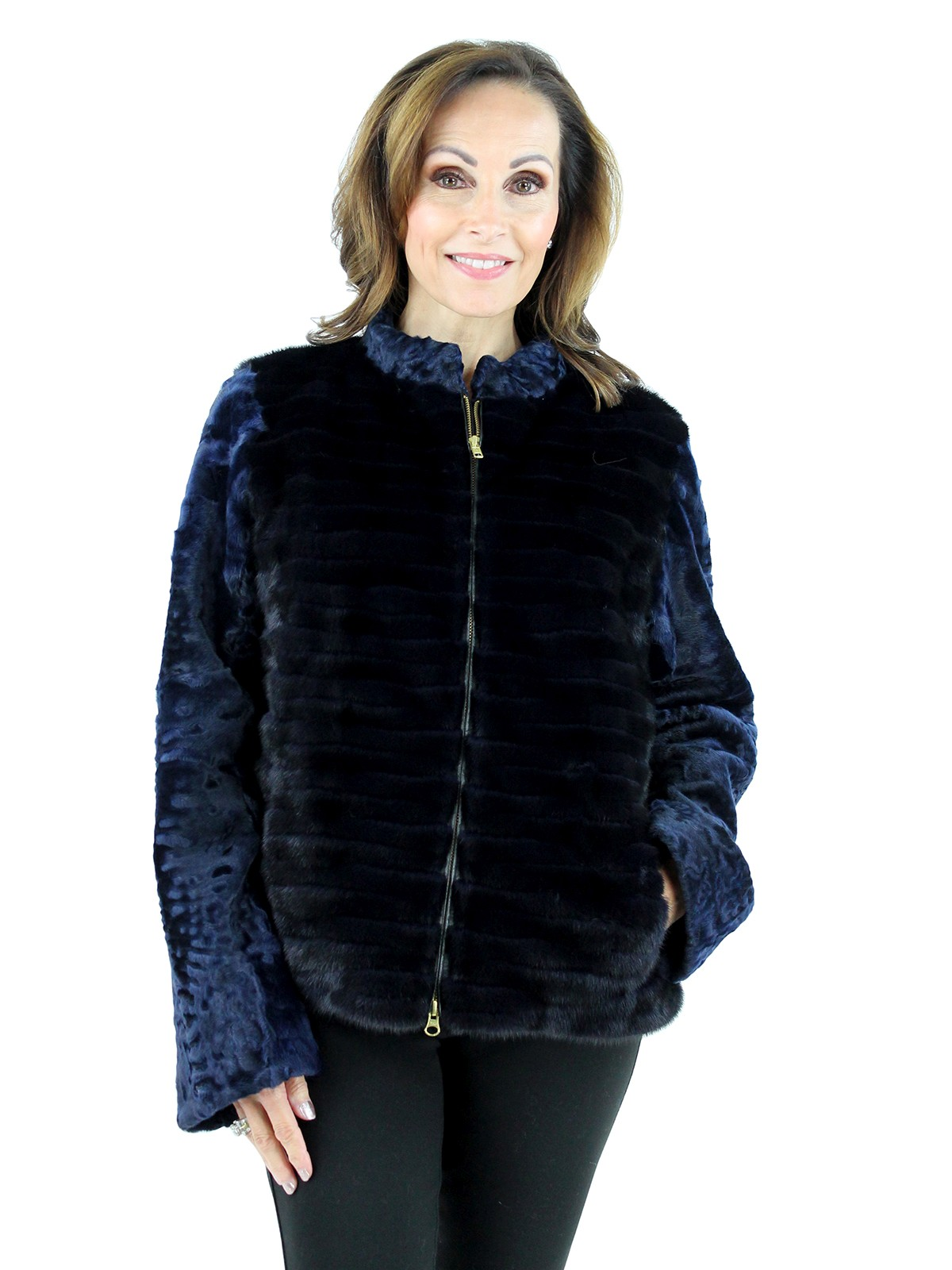 Gorski Woman's Navy Mink Fur and Karakul Fleece Jacket