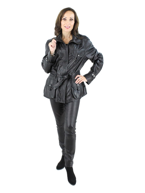 Woman's Nero Leather Jacket with Leather Belt