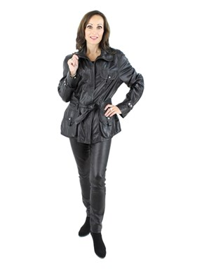 Woman's Black Leather Jacket with Leather Belt