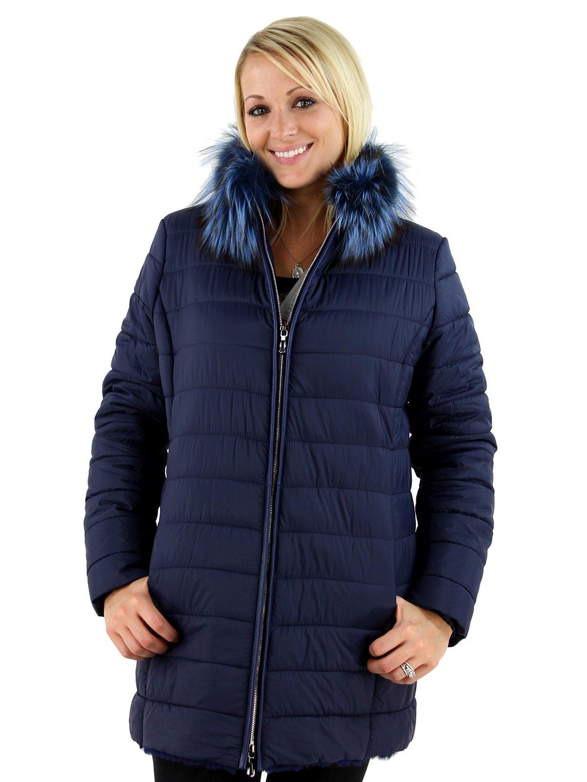 Woman's Navy Fabric and Shearling Lamb Jacket