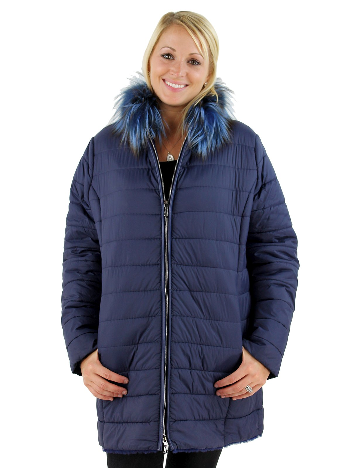Woman's Navy Fabric and Shearling Lamb Jacket
