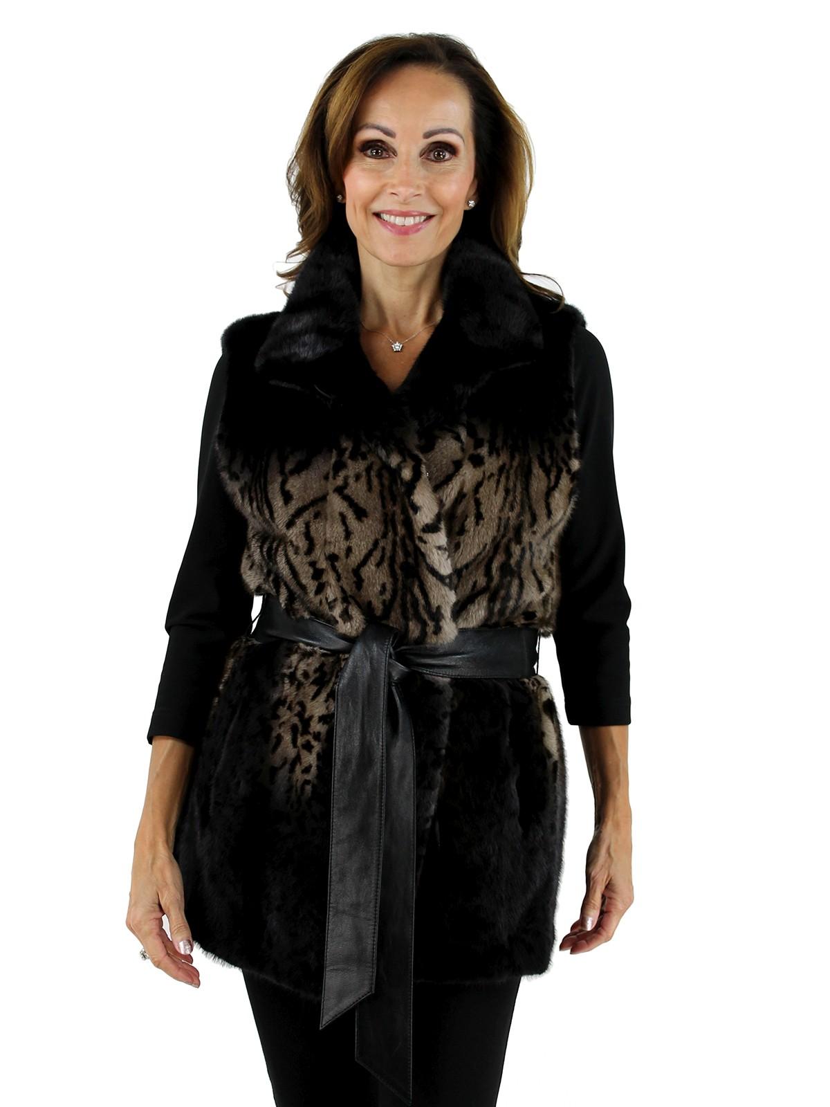 Gorski Woman's Tiger Print Mink Fur Vest