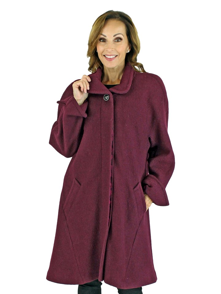 Woman's Wine Cashmere Wool Coat