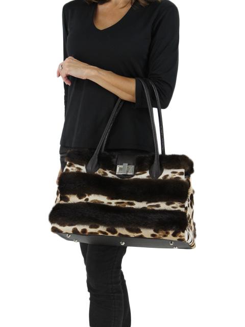 Animal Print Calf Hide and Mink Handbag