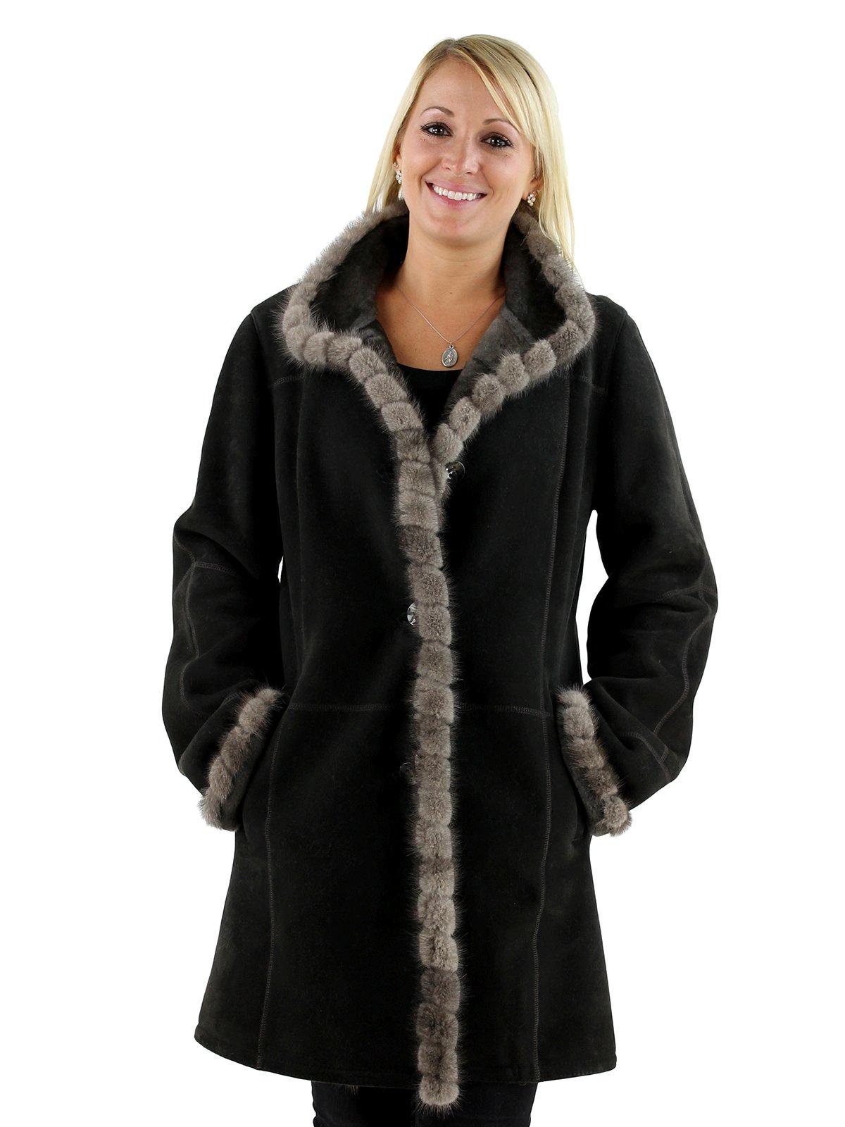 Woman's Khaki Shearling Stroller with Mink Fur Trim
