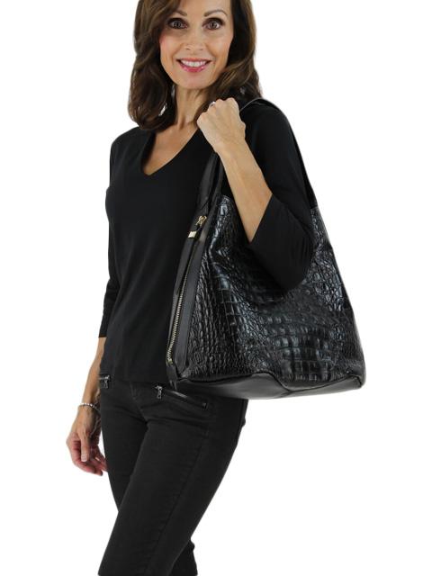 Crocodile Textured Leather Handbag