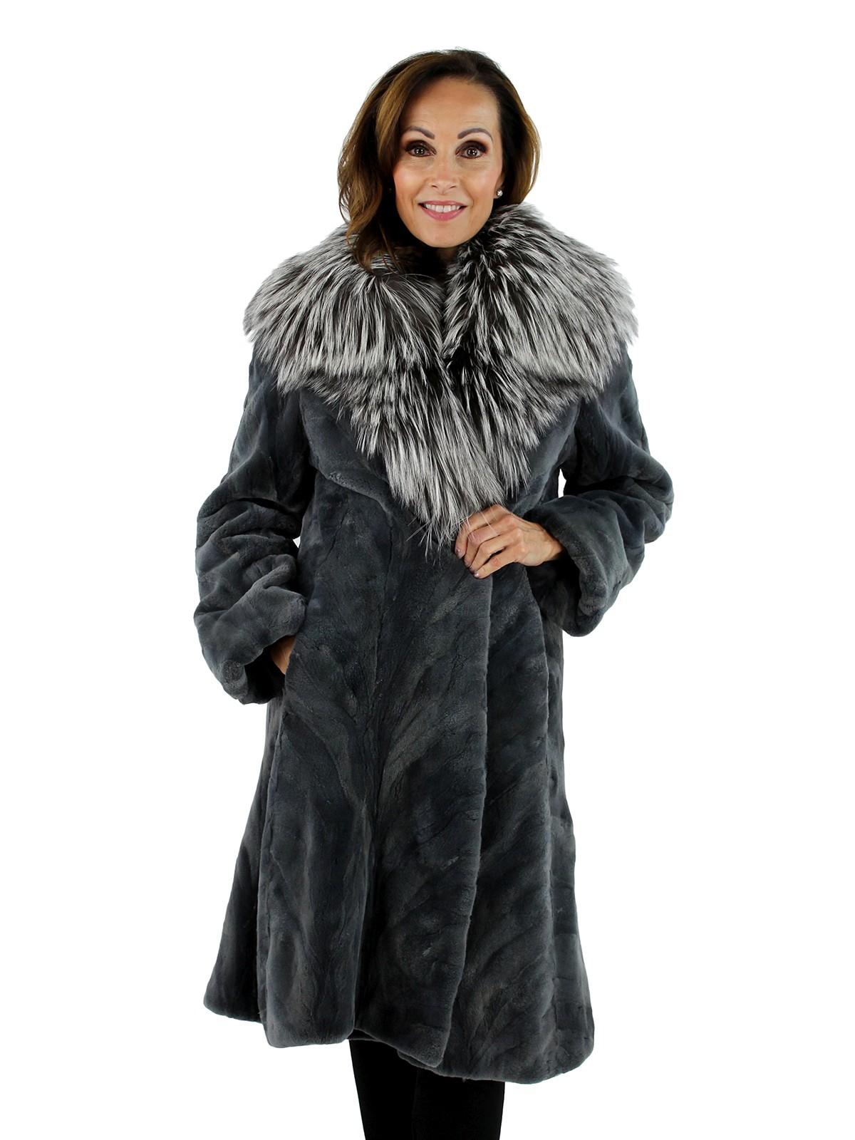 Woman's Steel Grey Sculptured Sheared Mink Fur Stroller