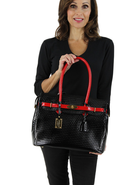 Black and Red Leather Handbag