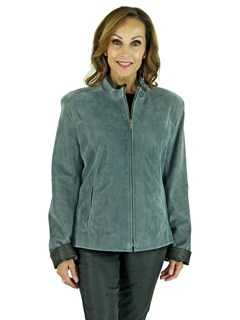 Woman's Atlantic Grey Leather Zipper Jacket