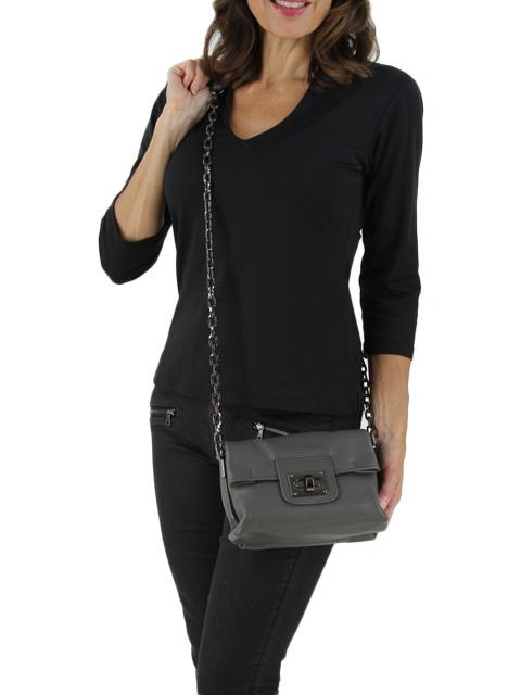 Grey Glazed Napa Leather Handbag