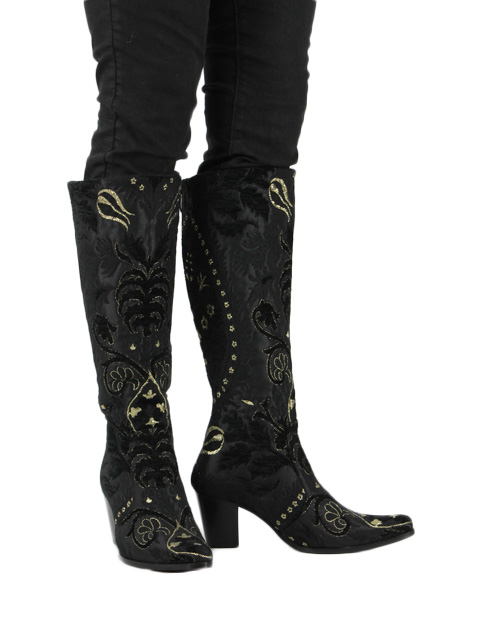 Black and Gold Tapestry Boots Size 7