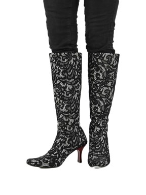 Black and White Lace Boots Size 7.5