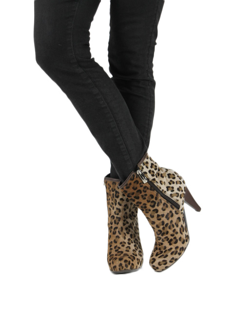 Leopard Print Calf Hair Bootie
