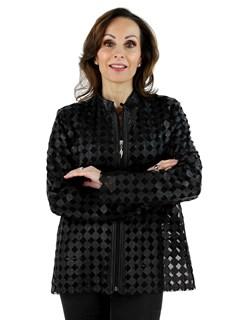 Woman's Black Leather Mesh Jacket