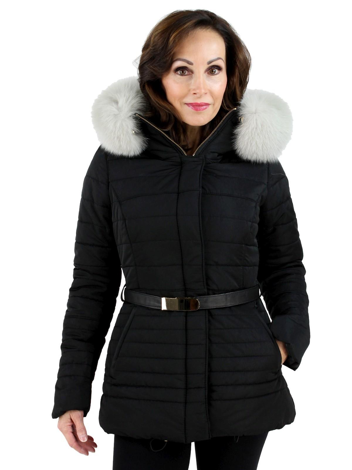 Gorski Black Woman's Apres-Ski Fabric Jacket with White Fox Trimmed Hood