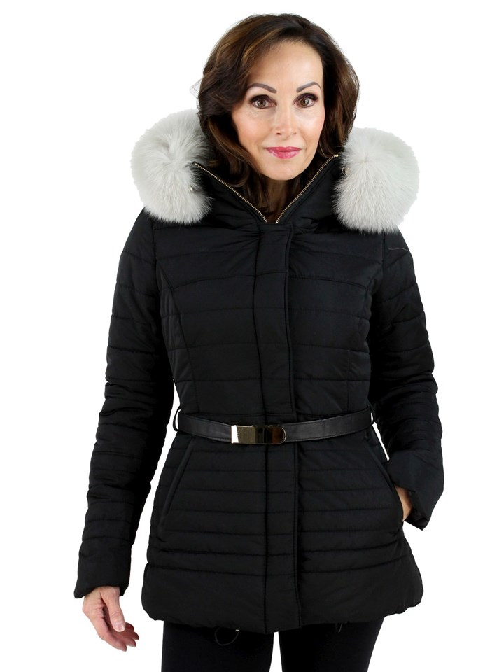 Gorski Black Woman's Apres-Ski Fabric Jacket with White Fox Trimmed Hood