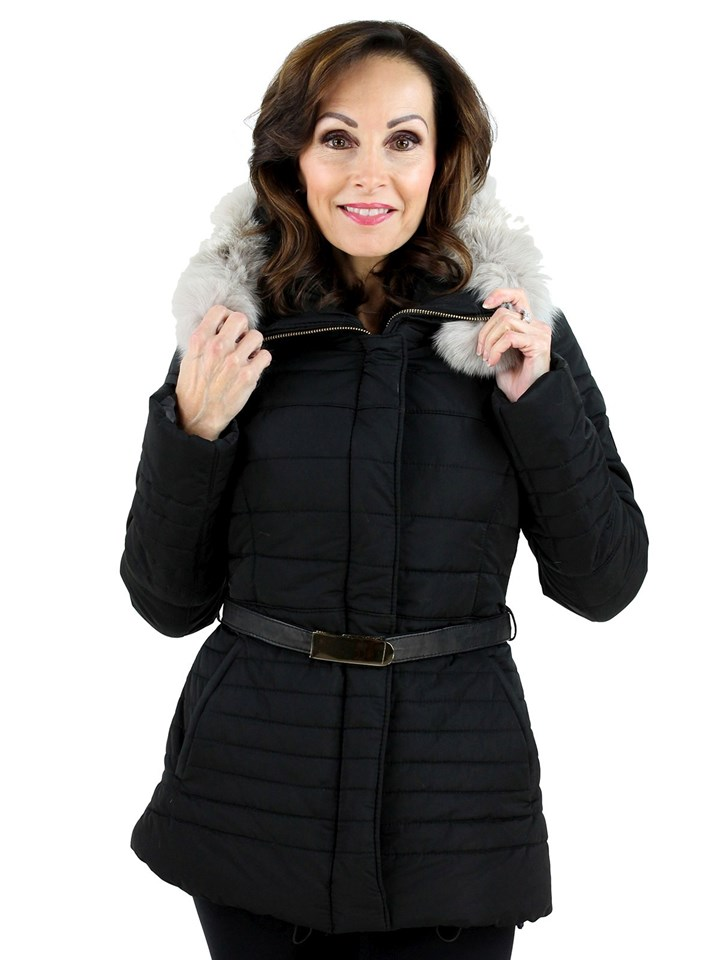 Gorski Woman's Black Apres Ski Jacket with White Fox Trimmed Hood