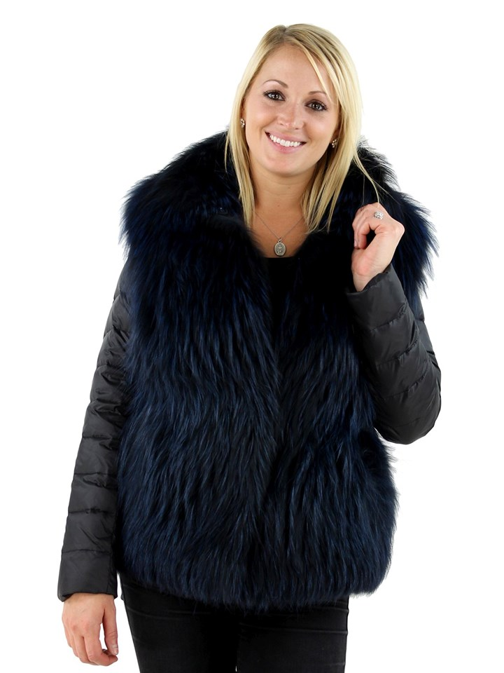 Gorski Woman's  Midnight Silver Fox Fur Jacket