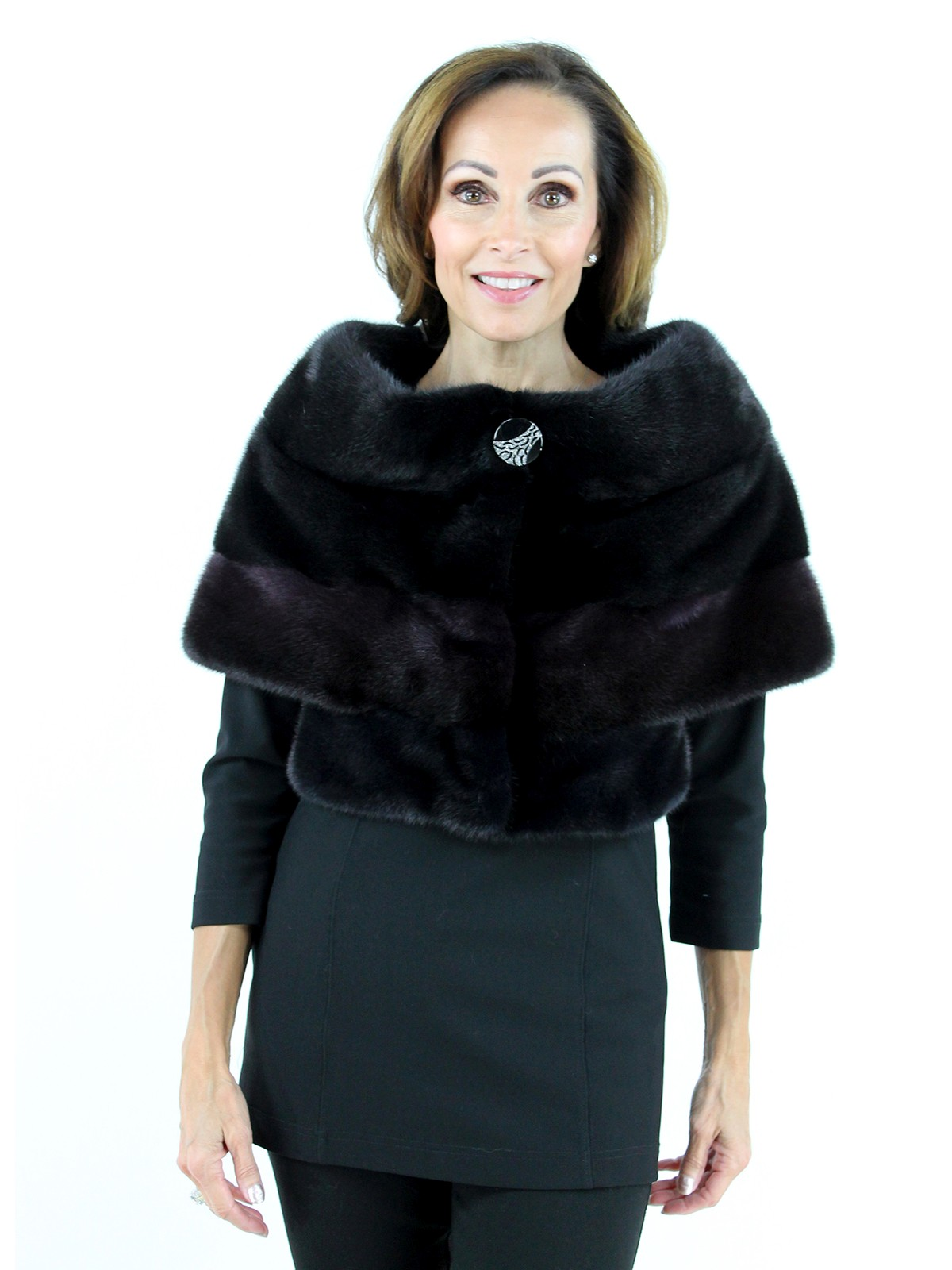 Gorski Woman's  Black,  Burgundy and Navy Mink Fur Cape