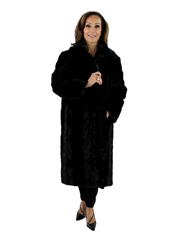 Gorski Woman's Black Mink Section Fur Short Coat