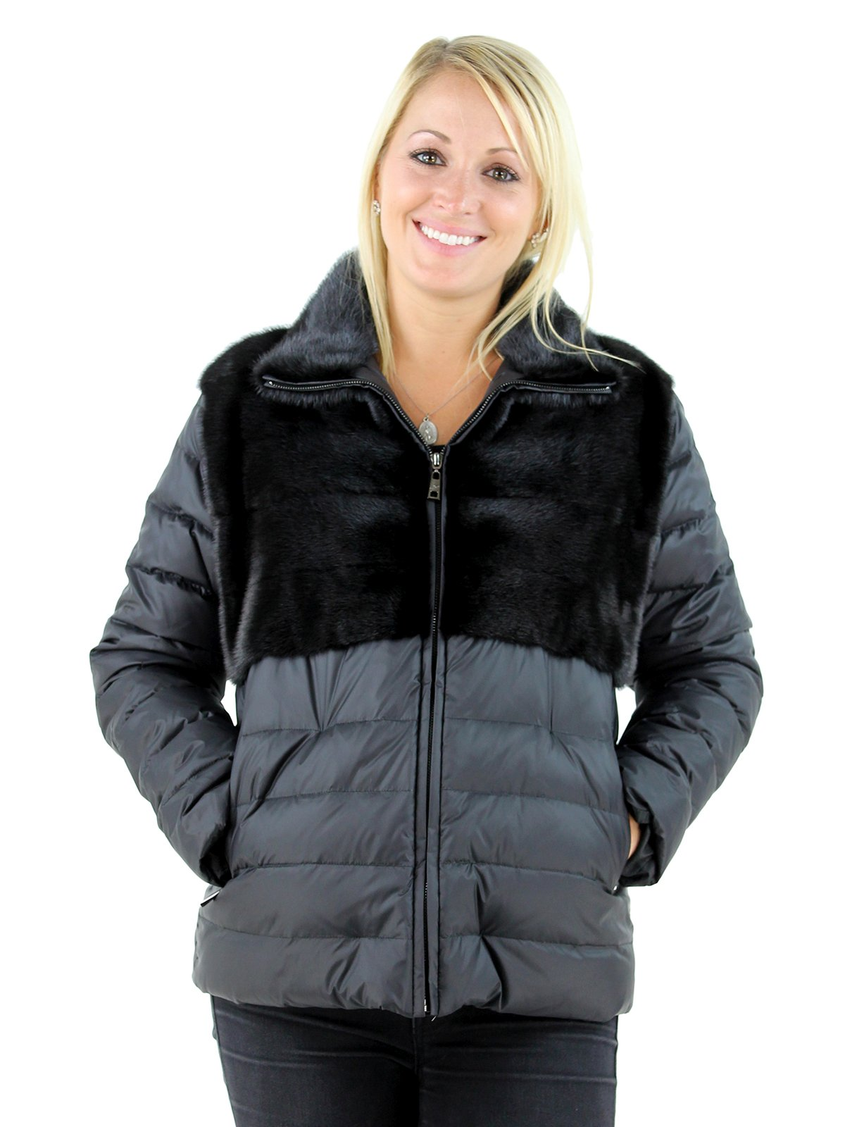 Gorski Woman's Black Mink Fur and Quilted Down Fabric Jacket