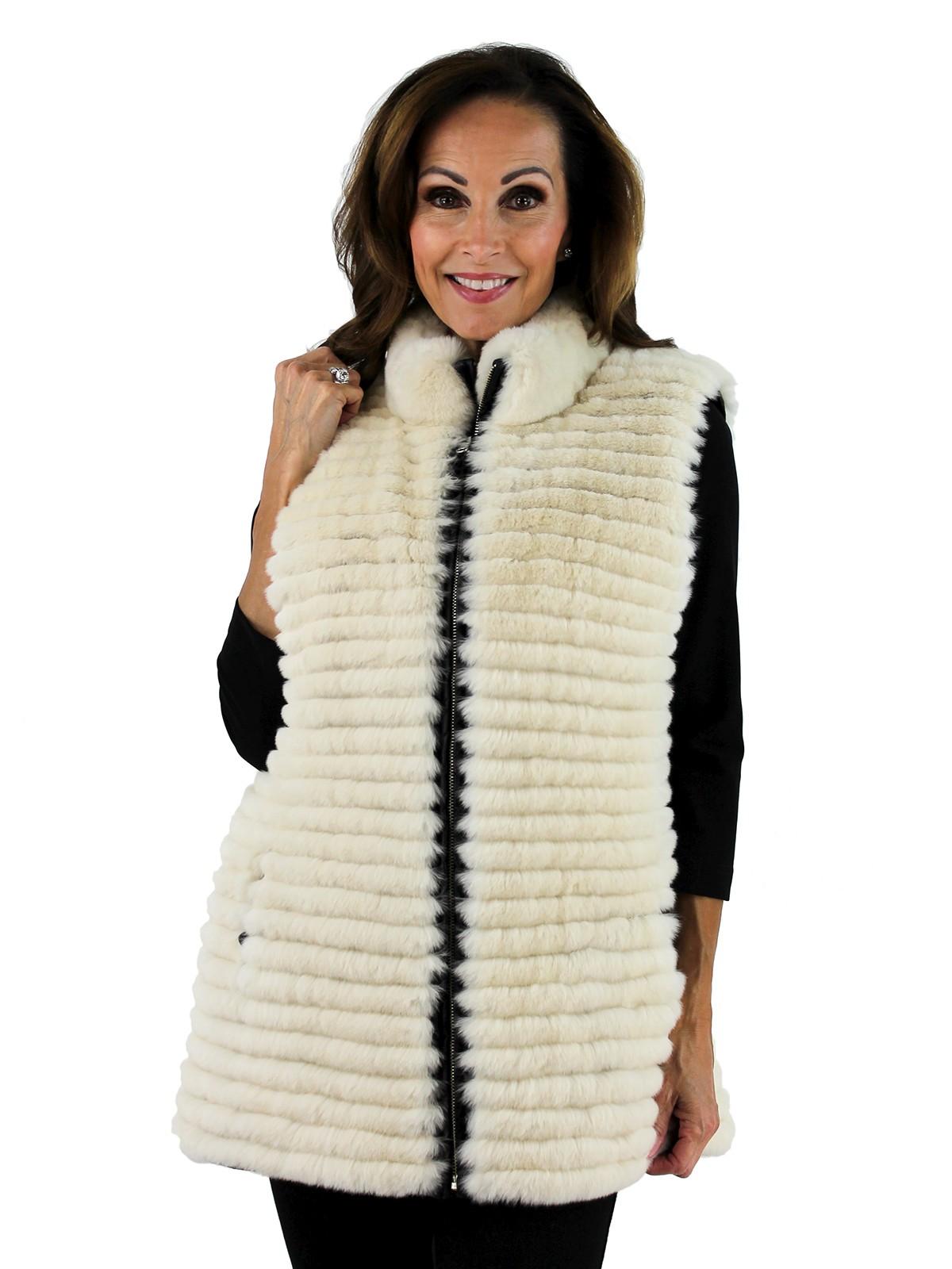 Gorski Woman's Taupe Rex Rabbit Layered Fur Vest