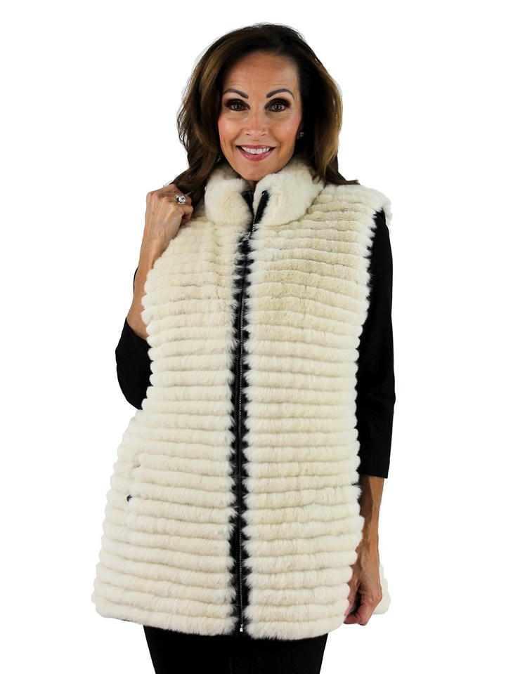 Gorski Woman's Taupe Rex Rabbit Layered Fur Vest