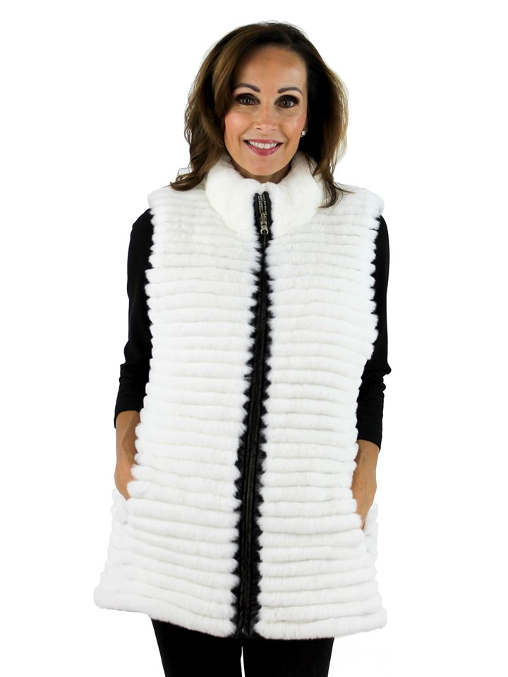 Gorski Woman's White Rex Rabbit Layered Fur Vest