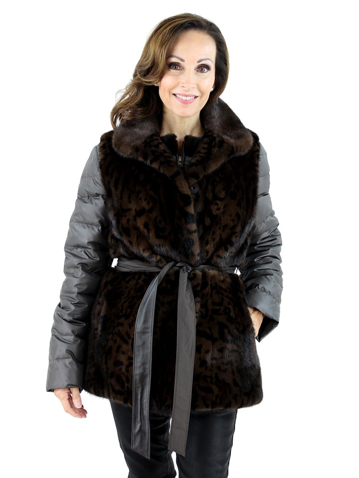 Gorski Woman's  Mahogany Animal Print Mink Fur Vest