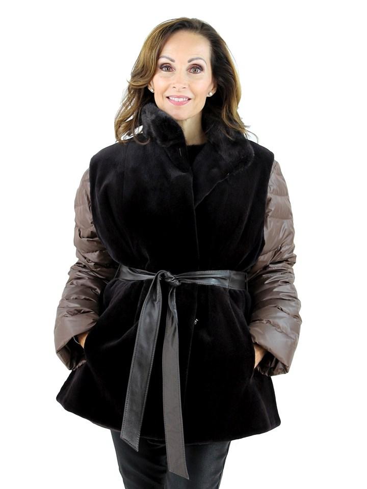 Gorski Woman's Raisin Sheared Mink Fur Vest
