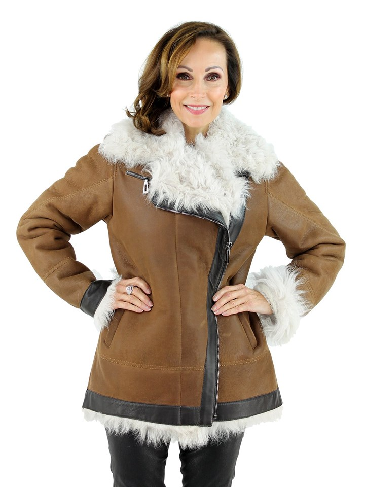 Woman's Cognac and Ivory Shearling Lamb Jacket