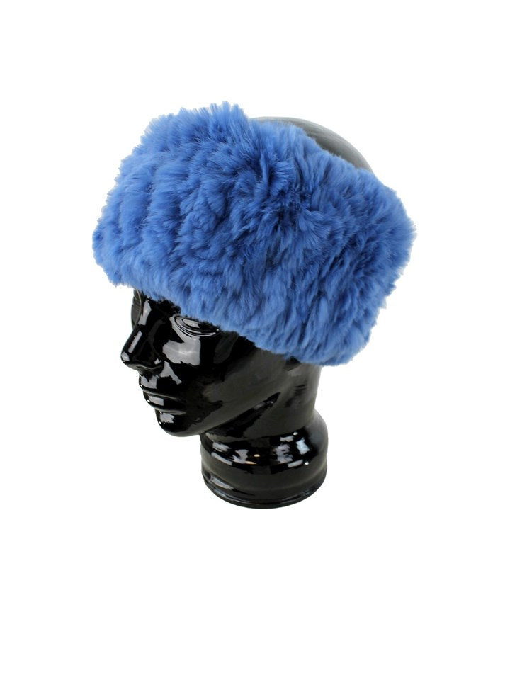 Woman's Denim Blue Rex Rabbit Fur Headband