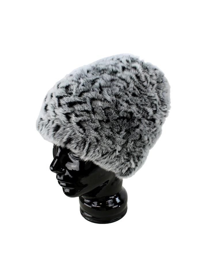 Woman's Black and Grey Chinchilla Dyed Rex Rabbit Fur Hat