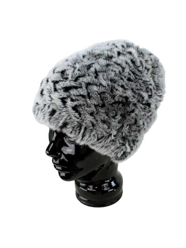 Woman's Black and Grey Chinchilla Dyed Rex Rabbit Fur Hat