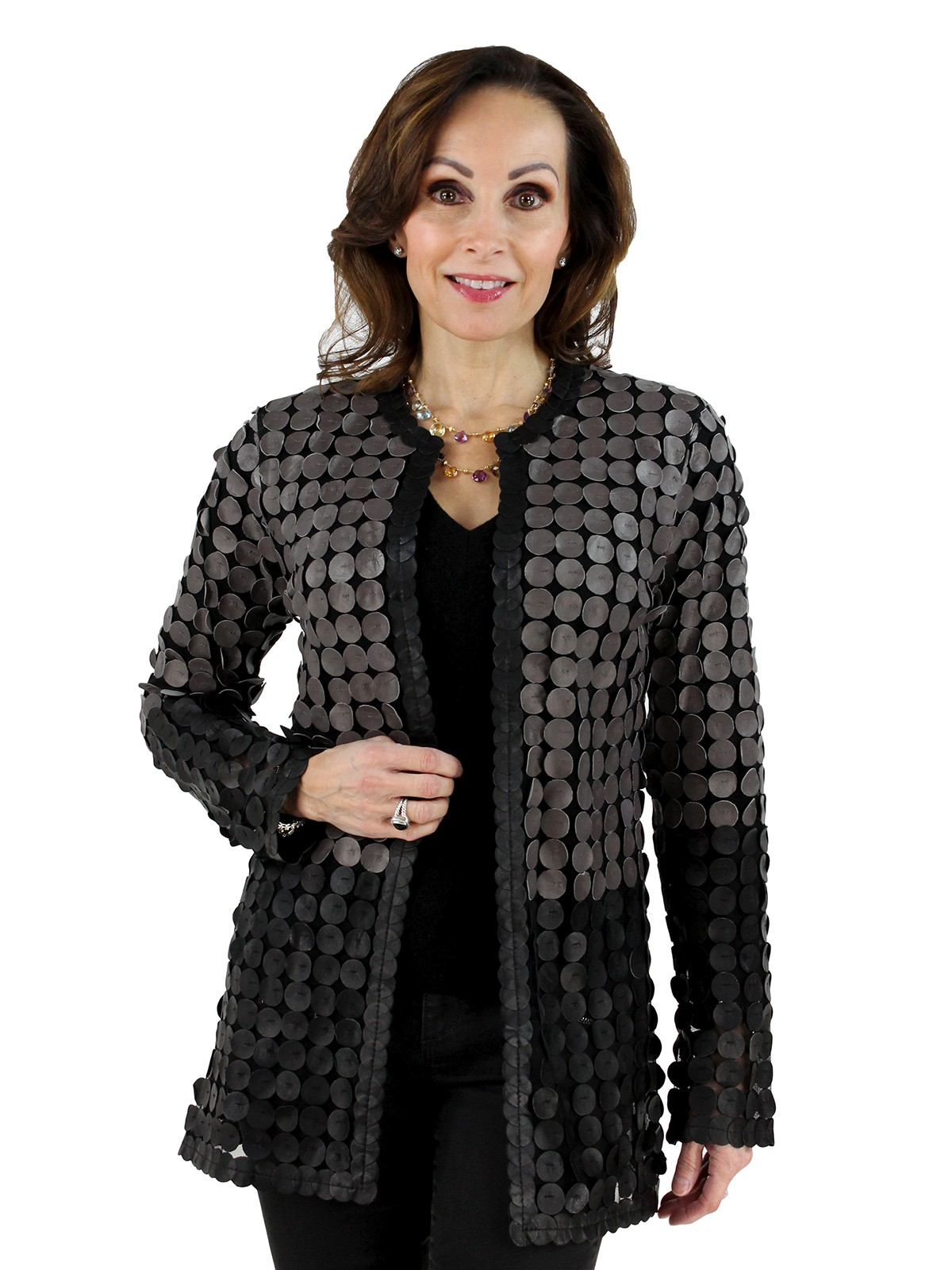 Black and Cobblestone Leather Mesh Jacket
