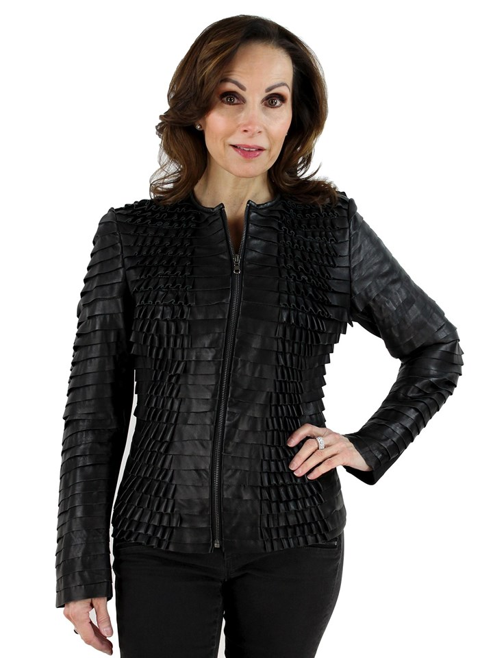 Black Leather Stretch Ruffle Zip Jacket