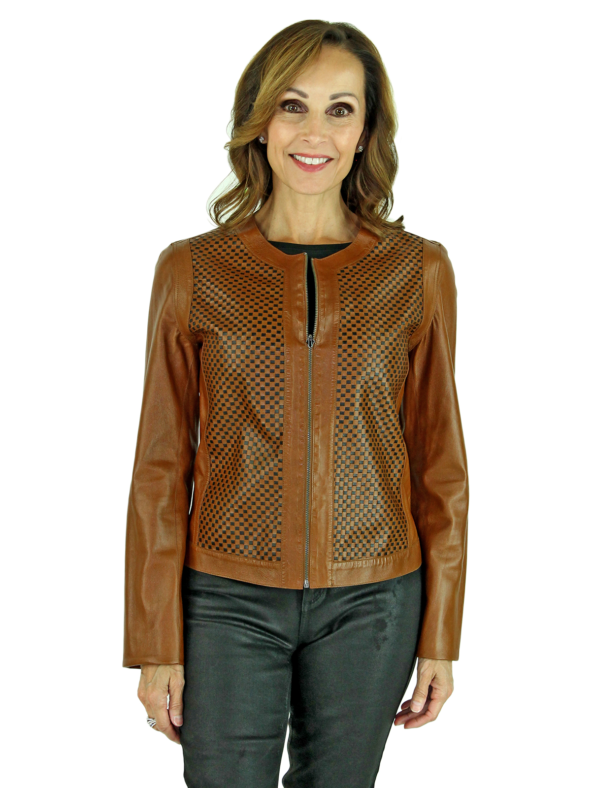 Woman's Black and Cognac Leather Reversible Zipper Jacket