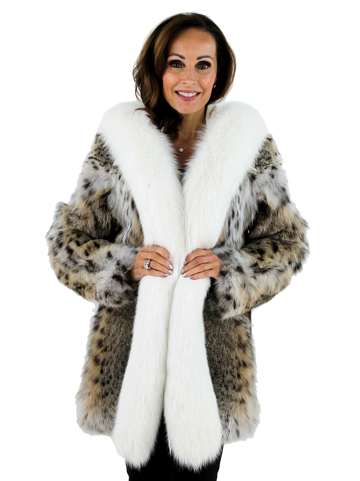 Woman's Natural Lynx and Fox Fur Parka
